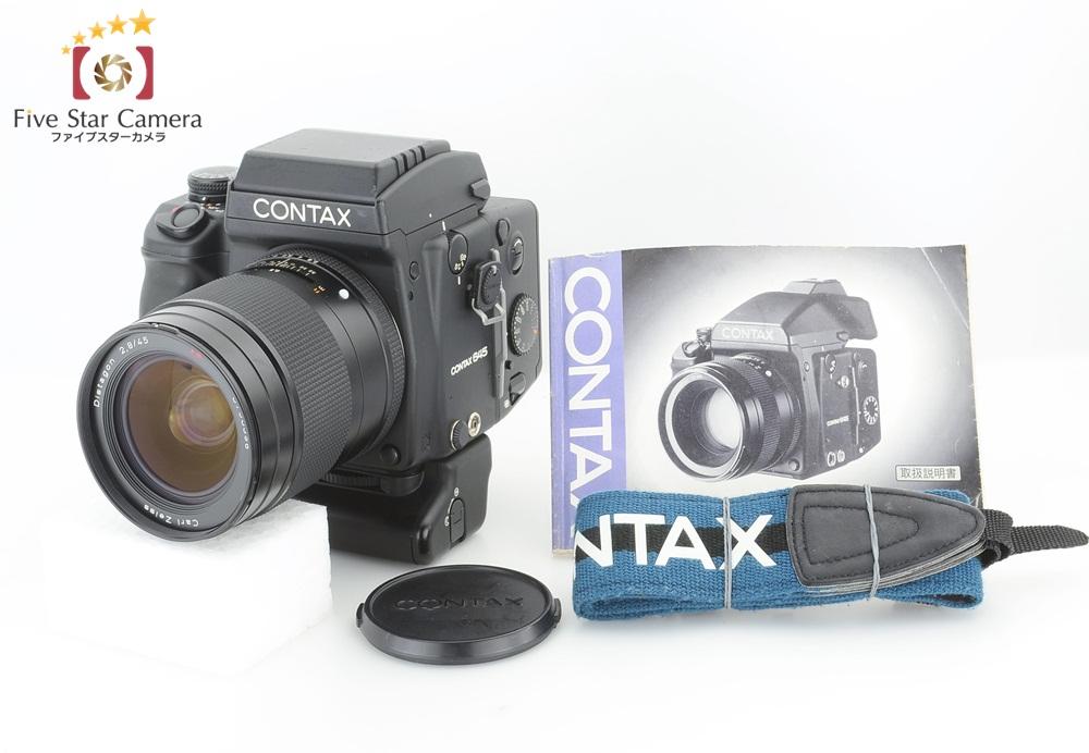 【中古】CONTAX コンタックス 645 + Carl Zeiss Distagon 45mm f/2.8 T* + MP-1 縦位置バッテリーグリップ